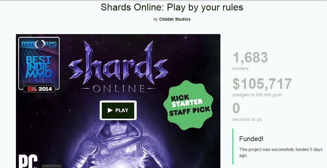Успешно окончилась вторая Kickstarter-кампания ММО Shards Online